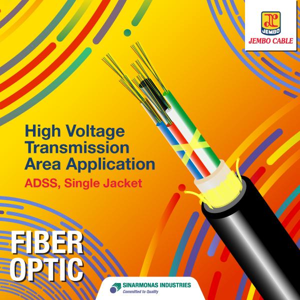 Kabel Fiber Optik High Voltage Transmission Area Application - ADSS Single Jacket